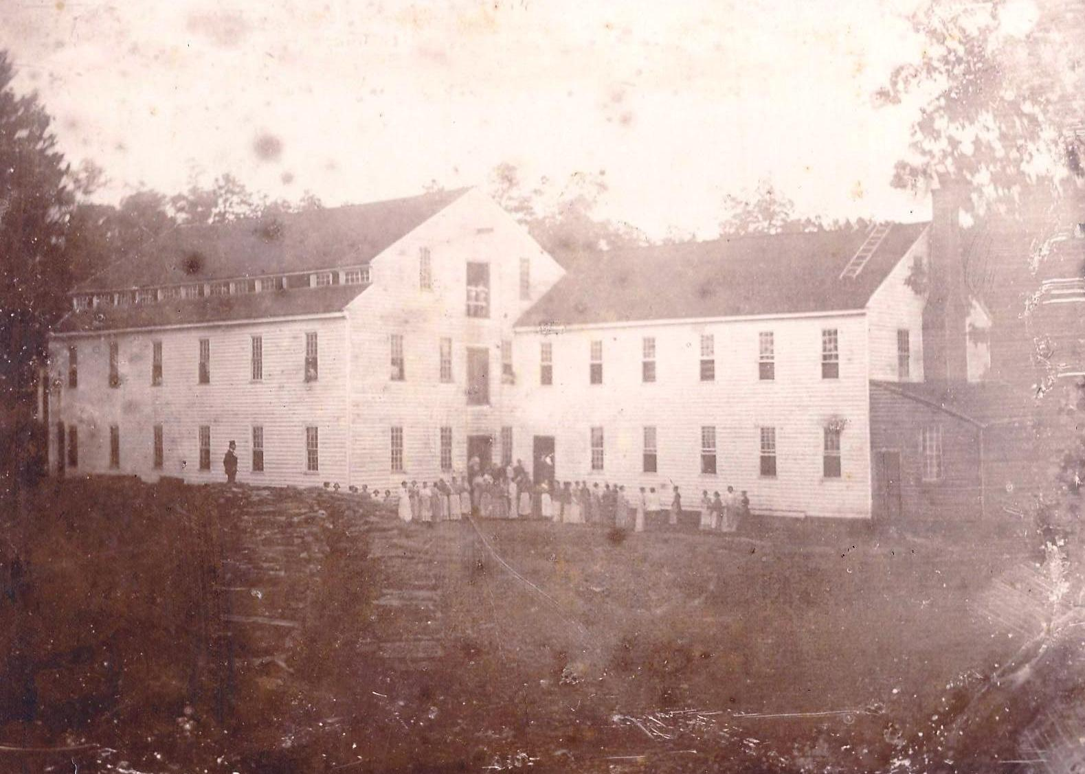 Photograph of Alamance Cotton Mill, as it appeared in 1837 shortly after construction.