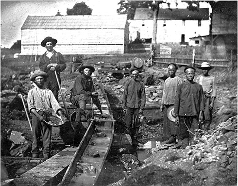 Black and white photograph of miners from the California Gold Rush.