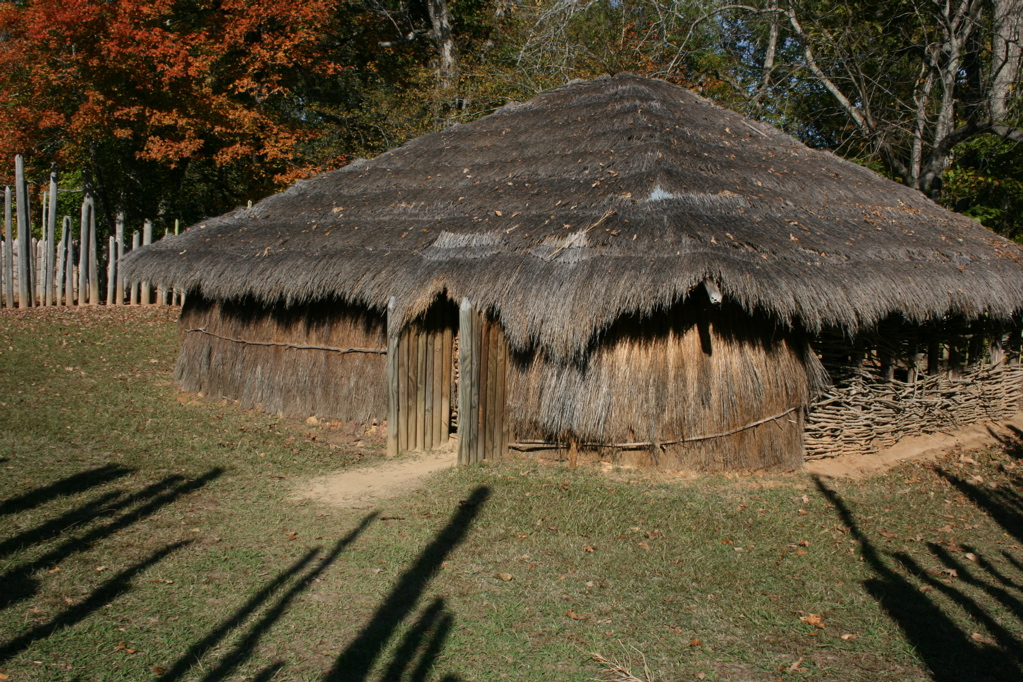 Many civilizations constructed structures with wattle and daub walls and thatch roofs. This is a temple that has been recreated at Town Creek Indian Mound.