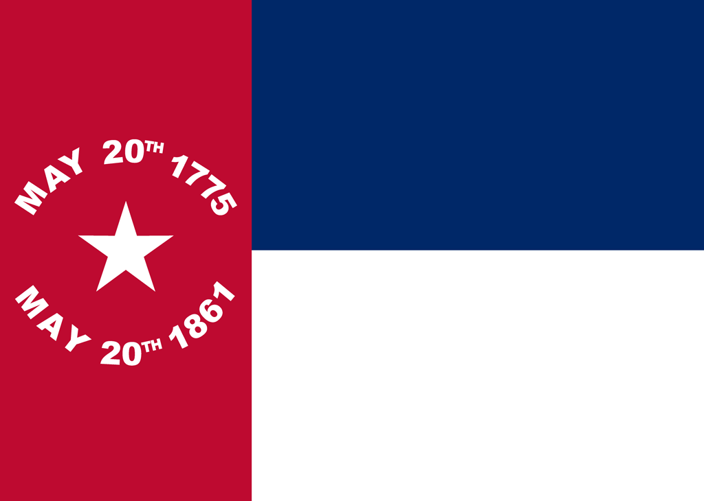 The state flag of North Carolina adopted following secession from the United States in 1861 consists of a red field at left and, at right, a blue bar above a white bar. The red field contains a single white star with the dates, in white, May 20th 1775 (the date of the Mecklenburg Resolves) and May 20th 1861 (the date of secession). It was replaced by the current state flag in 1885.