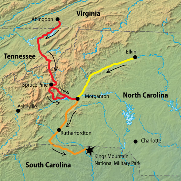 This is an image of a map depicting a likely route of Patriot militias to the Battle of King's Mountain, October, 1780.
