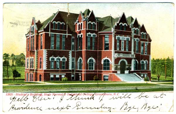 Postcard of Student's Building at the State Normal & Industrial College