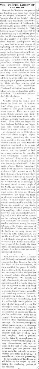 Newspaper clipping for article titled The Pauper Labor of the South.