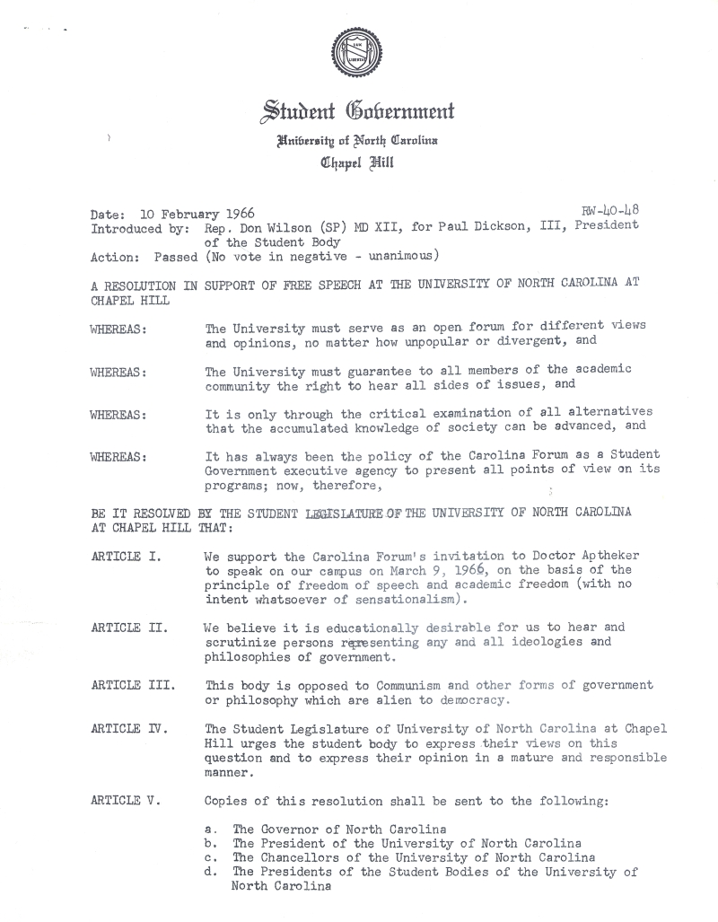 This is an image of a Resolution in Support of Free Speech at the University of North Carolina at Chapel Hill, 1966.