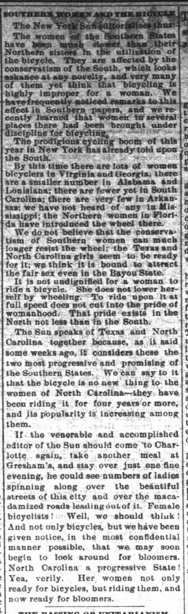 """Southern Women and the Bicycle"" article as it was printed in the Charlotte Observer"
