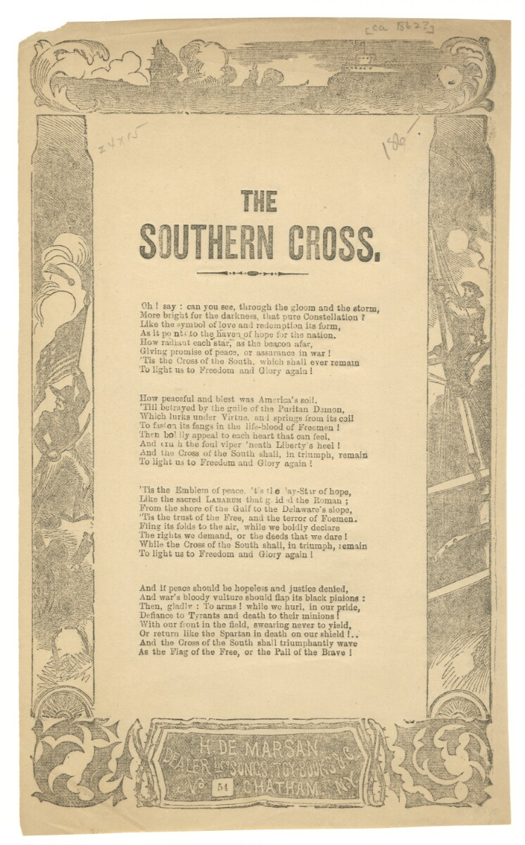 A printing of the lyrics to Southern Cross.