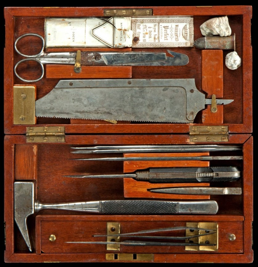 Civil War era surgeon's kit, including a variety of tools.