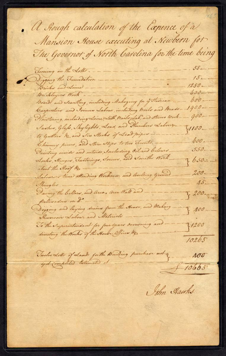 Image of the cost sheet for Tryon Palace