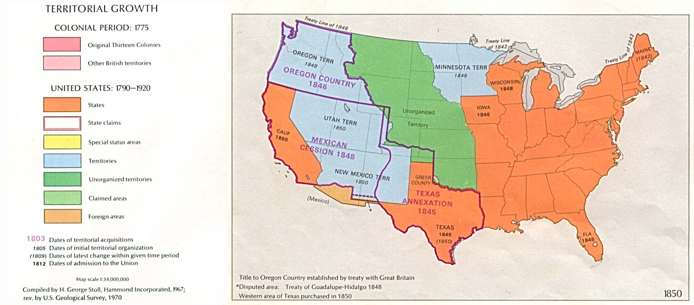 Map of U.S. territorial growth up to 1850.