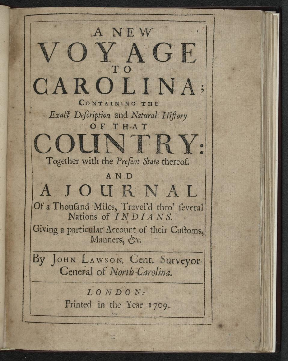 Title page for A New Voyage to Carolina, printed in 1709.