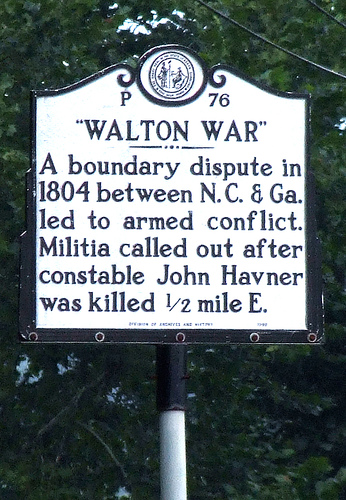 This highway marker memorializing the site of the 1804 Walton War is in Translyvania County, North Carolina.
