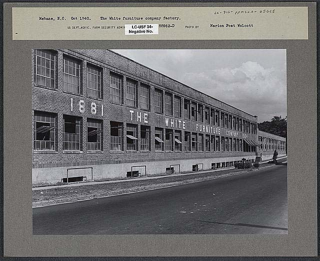 Black and white photograph of the White Furniture Company Factory, in Mebane, N.C., by Marion Post Wolcott, taken October 1940. From the Library of Congress Prints & Photographs Online Catalog.