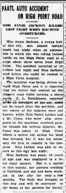 Image of a newspaper account from June 6, 1920 of a fatal car accident near High Point and Jamestown, N.C. From UNC-G Digital Collections.