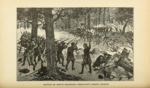"Depiction of the Battle of King's Mountain, ""Ferguson's Death Charge"", from Lyman Draper's 1929 history ""King's Mountain and it's heroes"". Published by Dauber & Pine, New York. (Originally published 1881 by P.G. Thompson, Cincinnati)"