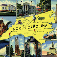 NC History Quiz. Modified image of a North Carolina novelty postcard, circa. 1930-1945.
