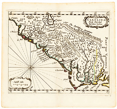 Map created circa 1682 depicting the coastal region from Jamestown, Virginia southward along the North Carolina coast. Image courtesy of The North Carolina Collection at the University of North Carolina at Chapel Hill.