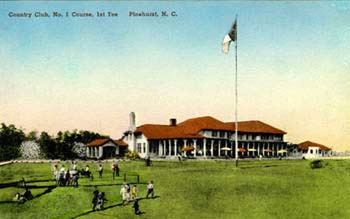 Postcard image of the 1st tee at No. 1 Course, Country Club, Pinehurst, N.C. ca. 1915-1930. From NC Postcards, UNC-Chapel Hill.