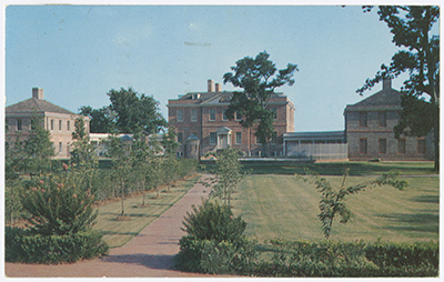 Postcard of New Bern's Tryon Palace. Built in the years between 1767 and 1770, this regal structure was the first capital of North Carolina. Commissioned by Royal Governor William Tryon, it was considered ostentatious by many NC citizens at the time, and added to growing tensions between tax payers and colonial leadership. Image courtesy of UNC Libraries.