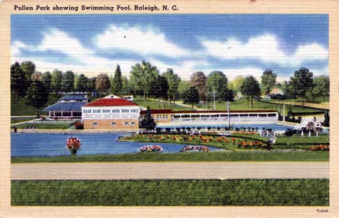 Postcard image of the swimming pool and carousel in background at Pullen Park, Raleigh, N.C., likely sometime after 1915. From NC Postacards, UNC-Chapel Hill.
