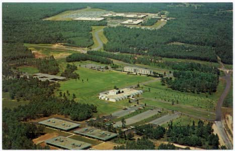 Aerial photograph of the Research Triangle Park, undated but likely circa 1960s to 1970s. Published by Aerial Photography Services, Charlotte, N.C. From the Durwood Barbour Collection of North Carolina Postcards, UNC-Chapel Hill.