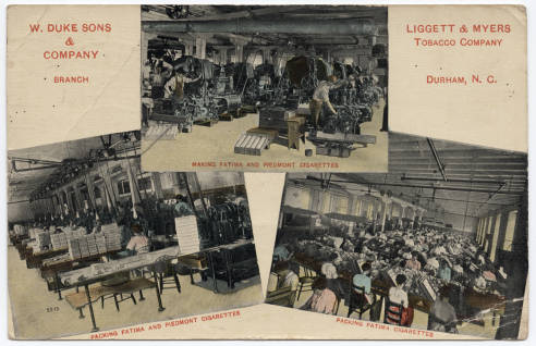 Postcard collage of factory workers at W. Duke Sons & Company and Liggett & Myers Tobacco Company, ca. 1921. From NC Postcards, UNC-Chapel Hill.