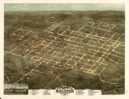 Bird's eye view illustration of the city of Raleigh, N.C., 1872. Although not drawn to scale, it gives a good idea of the size and environs of the once sleepy but growing city in the 1870s. From the Library of Congress.