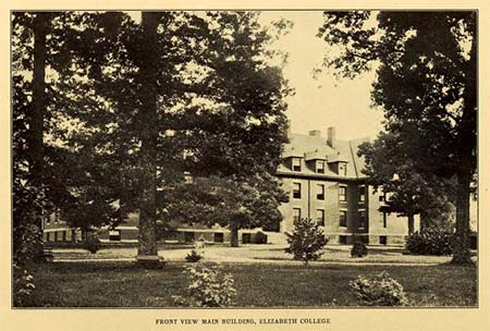 "Photograph of the Main Building at Elizabeth College in Charlotte, N.C., from the 1910 college yearbook ""The Elizabethan."" In 1921, the college burned down and the school merged with Roanoke College for Women in Salem, V.A."