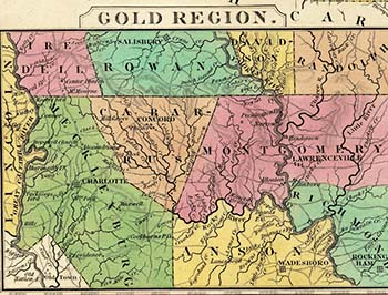 "Excerpt of  H.S. Tanner's 1836 map ""A New Map of North Carolina with its Canals, Roads & Distances from place to place,"" showing the Gold Region of the state. From the collection of the State Archives of N.C. Click on the image to view the full size map online at NC Maps."
