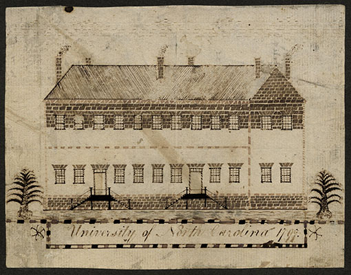 An architectural drawing of Old East circa 1797. Old East was the first building at the University of North Carolina at Chapel Hill. Still standing today, is also the nation's oldest university building. Courtesy of The Carolina Collection at UNC Chapel Hill.