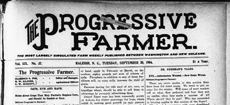 Masthead of The Progressive Farmer, September 20, 1904. From the collection of UNC-Chapel Hill, at the Library of Congress Chronicling America.
