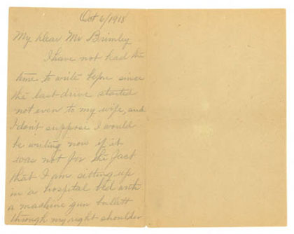 Excerpt of letter from James Alston to H. H. Brimley, dated October 6, 1918. From the collection of the State Archives of North Carolina.