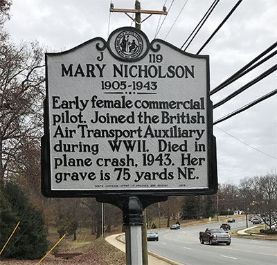 Photograph of the Mary Nicholson North Carolina Highway Historical Marker, located off New Garden Road, Greensboro, N.C. Courtesy of the N.C. Department of Natural and Cultural Resources.