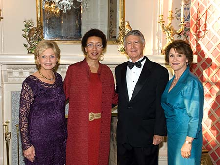 Photograph of Governor Beverly Purdue (far left), Carole Weatherford, Bob Eaves, and Linda Carlisle, October 29, 2018, North Carolina Awards ceremony. Image from the collection of the State Archives of North Carolina.