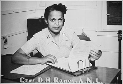 Photograph of Capt. Della H. Raney, Army Nurse Corps, April 11, 1945. Item 208-PU-161K-1, from Record Group 208, Records of the Office of War Information, 1926-1951, National Archives and Records Administration.