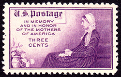 The 1934 U.S. stamp using Whistler's painting to honor American mothers. Image from the Wikimedia Commons.