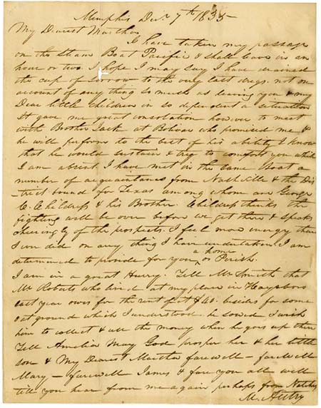Image of Letter from Micajah Autry to Martha Autry, December 7, 1835, from the James Lockhart Autry family papers at Rice University.