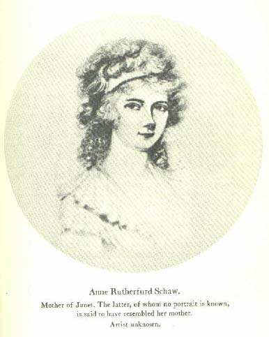 Portrait of Janet Sschaw's mother, Anne Rutherford Schaw, believed to be a good likeness of Janet. No known likeness of Janet Schaw is believed to exist. Artist unknown. Included in the 1939 publication of A Journal of A Lady of Quality, North Carolina Historical Publications.