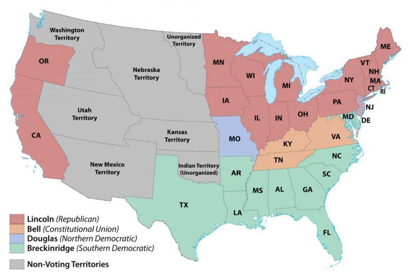 1860 U.S. electoral map