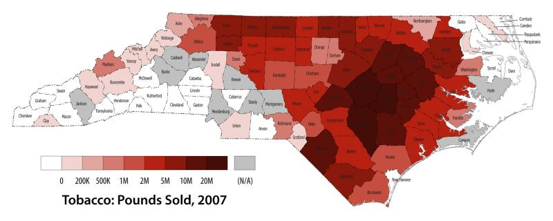 Pounds of tobacco sold in North Carolina, 2007