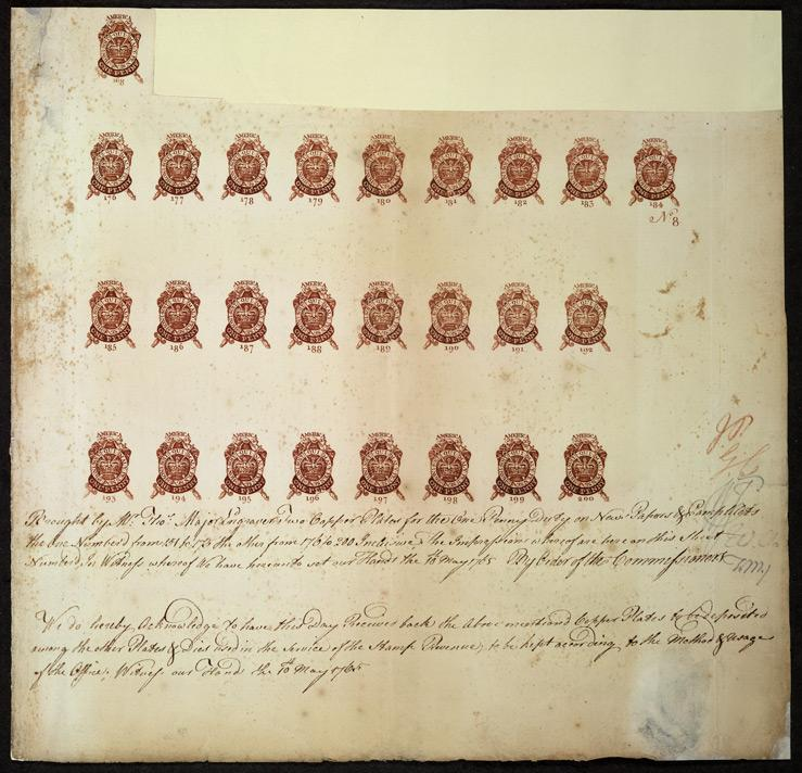 "A proof sheet of one-penny stamps, submitted for approval to the Commissioners of Stamps by an engraver on May 10, 1765. Under the Stamp Act, one-penny stamps were to be used on newspapers, pamphlets and all other papers ""larger than half a sheet and not exceeding one whole sheet."""