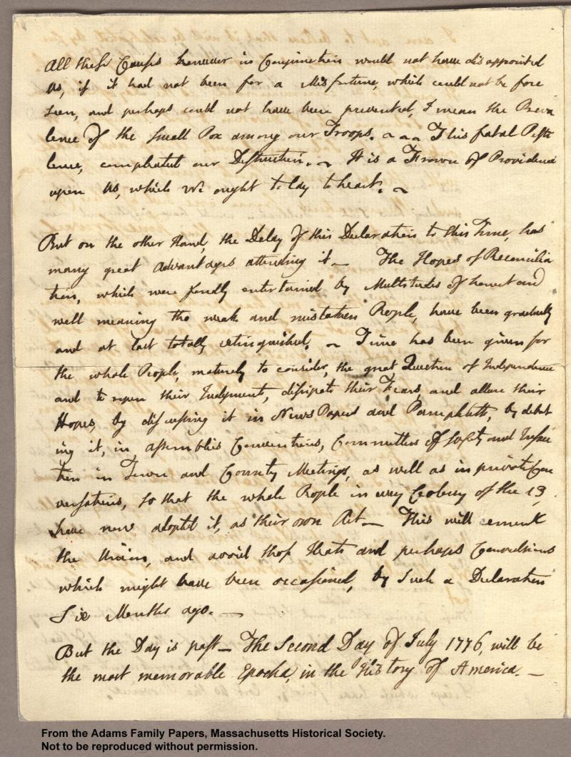 """<img typeof=""""foaf:Image"""" src=""""http://statelibrarync.org/learnnc/sites/default/files/images/adams_had_declaration_p2.jpg"""" width=""""1307"""" height=""""1734"""" alt=""""Letter from John Adams to Abigail Adams, 3 July 1776 - Had a declaration..."""" title=""""Letter from John Adams to Abigail Adams, 3 July 1776 - Had a declaration..."""" />"""