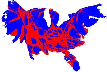 """<img typeof=""""foaf:Image"""" src=""""http://statelibrarync.org/learnnc/sites/default/files/images/countycartredblue1024_450.png"""" width=""""450"""" height=""""304"""" alt=""""Presidential election results by county, 2008: Cartogram"""" title=""""Presidential election results by county, 2008: Cartogram"""" />"""
