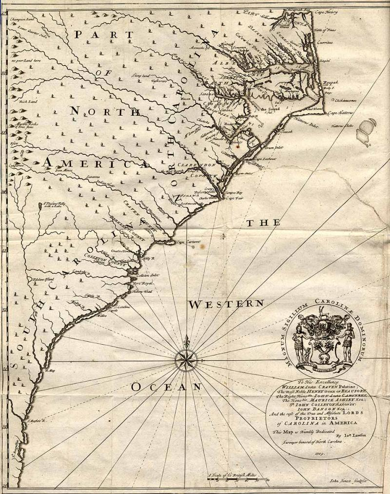 John Lawson's 1709 map of North Carolina.