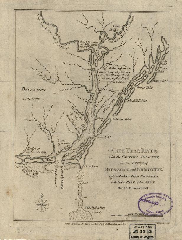A map of the Cape Fear River, with the counties adjacent, and the towns of Brunswick and Wilmington, against which Lord Cornwallis, detached a part of his army, the 17th of January, 1781. Image from the Library of Congress.