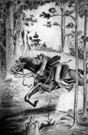 This is an image of a male rider on the bridled back of a galloping horse.