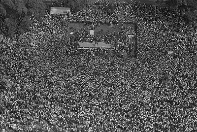This is an aerial image of the crowd during the March on Washington, 1963. From the Library of Congress.