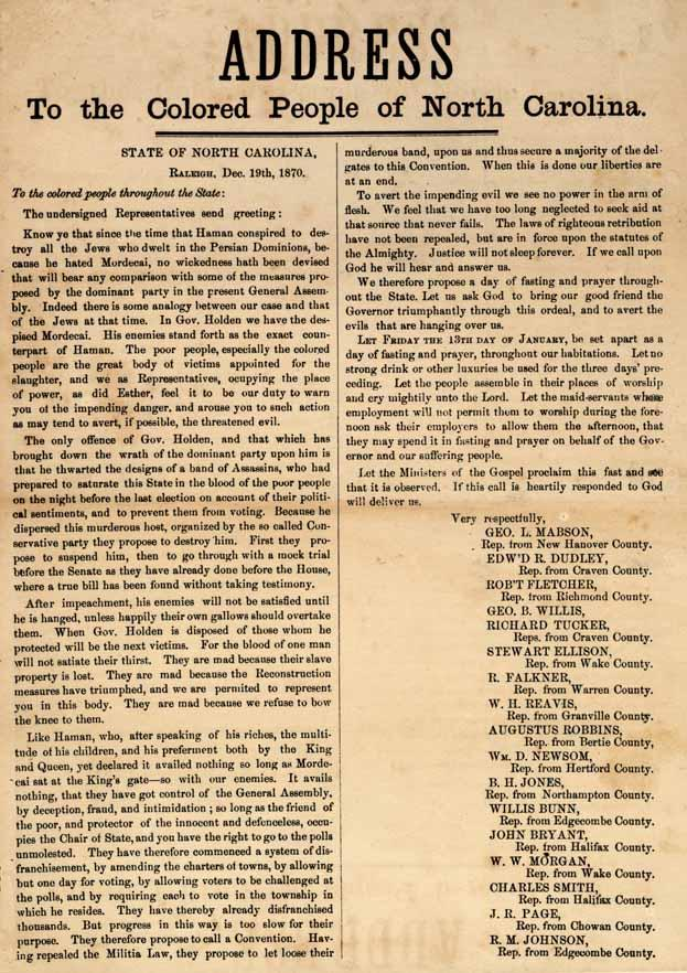 Address to the Colored People of North Carolina, 1870