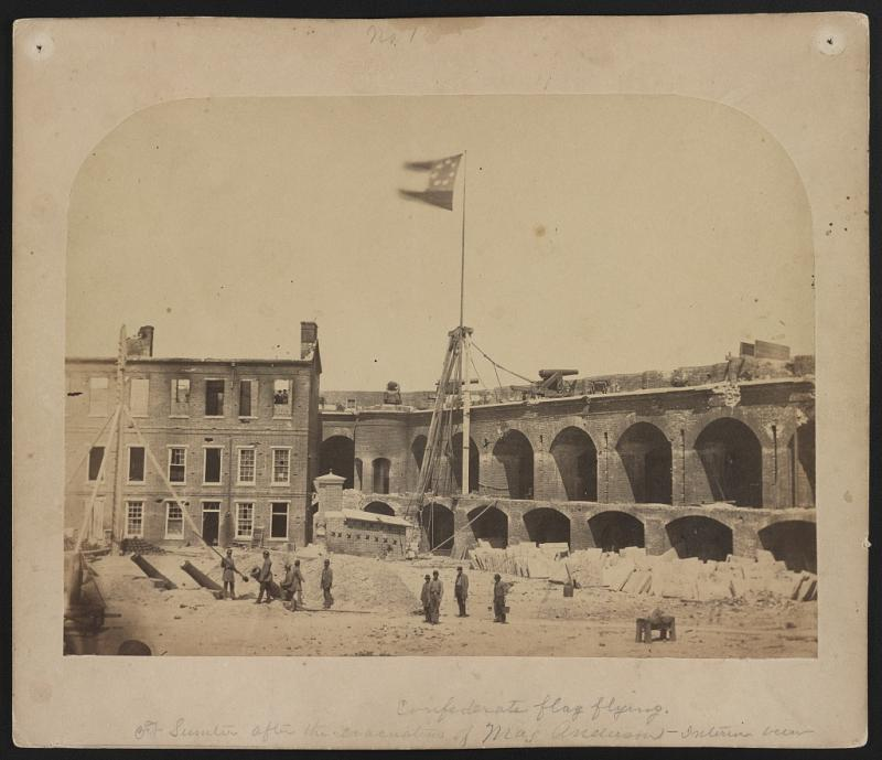 Photograph shows the Confederate flag flying at Fort Sumter, on April 15, 1861.
