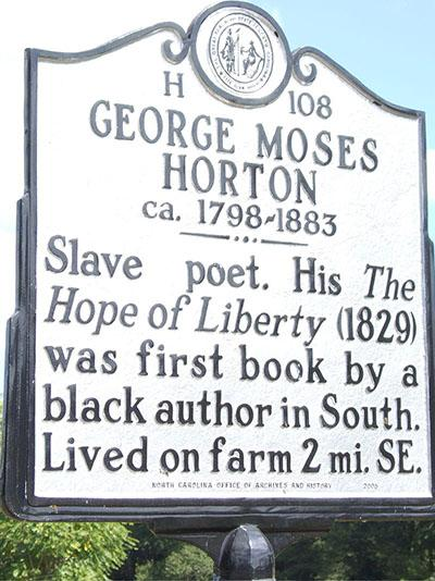 Historical marker for George Moses Horton.