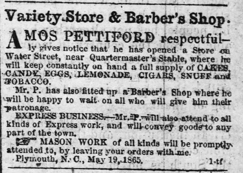 Variety Store & Barber's Shop Advertisement, The Old Flag, 1865